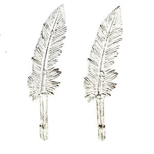 Set of 2 Feather Shaped Distressed Metal Coat Hooks