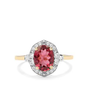 Umba River Garnet & White Zircon 9K Gold Ring ATGW 2.78cts