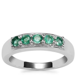 Zambian Emerald Ring in Sterling Silver 0.54ct