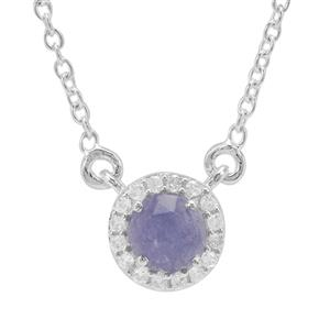 Rose Cut Tanzanite Necklace with White Zircon in Sterling Silver 1.19cts