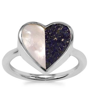 Mother of Pearl Ring with Sar-i-Sang Lapis Lazuli in Sterling Silver (12.80mm x 6.50)