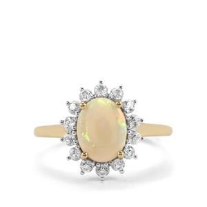Coober Pedy Opal & White Zircon 10K Gold Ring ATGW 1.87cts
