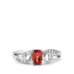 Mongolian Red Andesine & White Topaz Sterling Silver Ring ATGW 0.55cts