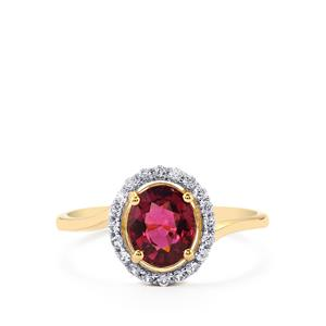 Malawi Garnet Ring with White Zircon in 10k Gold 1.69cts