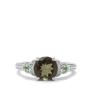 Moldavite,Tsavorite Garnet & White Zircon Sterling Silver Ring ATGW 1.80cts
