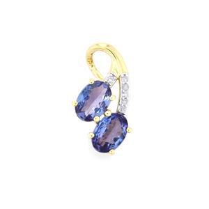 AA Tanzanite Pendant with Diamond in 10K Gold 1.25cts