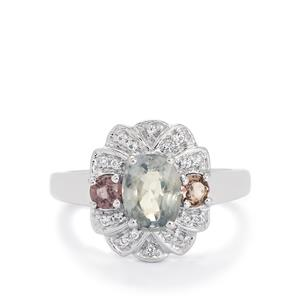 Burmese Multi-Colour Spinel & White Topaz Sterling Silver Ring ATGW 2cts