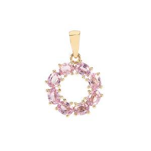 Sakaraha Pink Sapphire Pendant in 9K Gold 1.73cts