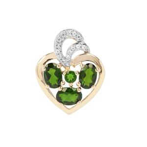 Chrome Diopside Pendant with White Zircon in 9K Gold 2.25cts