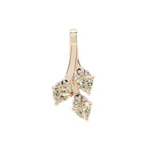 Csarite® & Diamond 9K Gold Pendant ATGW 1.51cts
