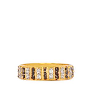 White Topaz Ring with Black Spinel in Gold Plated Sterling Silver 0.66ct