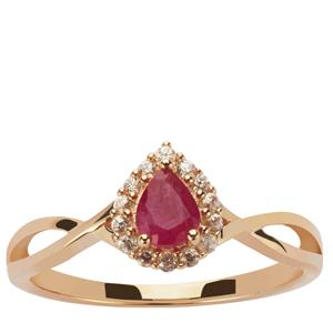 Montepuez Ruby Ring with White Zircon in 9K Gold 0.55ct