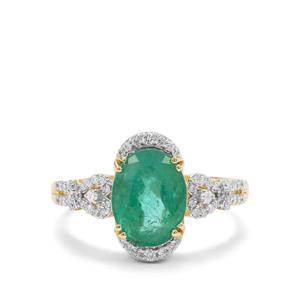 Zambian Emerald & Diamond 18K Gold Tomas Rae Ring MTGW 2.40cts