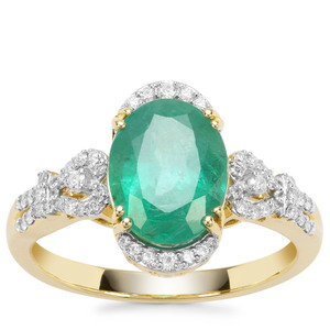 Zambian Emerald Ring with Diamond in 18K Gold 2.40cts