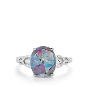 Mosaic Opal Sterling Silver Ring (11x9mm)