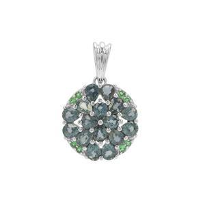 Natural Umba Sapphire & Tsavorite Garnet Sterling Silver Pendant ATGW 3.26cts