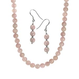 140.10ct Kunzite Sterling Silver Set of Necklace & Earrings