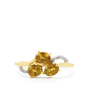 Ambanja Demantoid Garnet & Diamond 10K Gold Ring ATGW 1.46cts