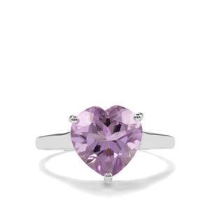 3.30ct Rose De France Amethyst Sterling Silver Ring