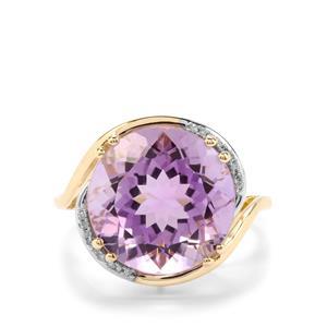 Rose De France Amethyst & Diamond 9K Gold Ring ATGW 8.24cts