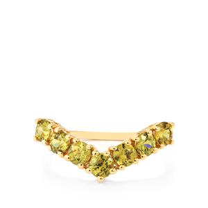 1.45ct Ambanja Demantoid Garnet 9K Gold Ring
