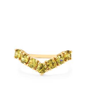 Ambanja Demantoid Garnet Ring in 10K Gold 1.45cts