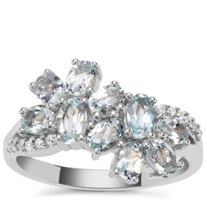 Sokoto Aquamarine Ring with White Zircon in Sterling Silver 1.70cts