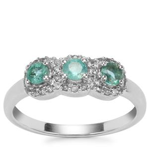 Zambian Emerald Ring with White Topaz in Sterling Silver 0.61cts