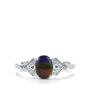 AA Ammolite & White Zircon Sterling Silver Ring (8x6mm)