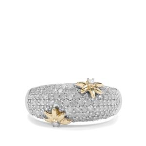 3/4ct Diamond Sterling Silver with 9k Gold Star Ring