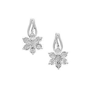 1/10ct Diamond Sterling Silver Halo Diamonds Earrings