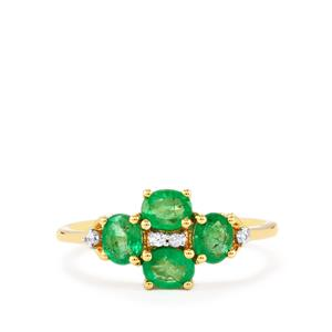 Zambian Emerald Ring with White Zircon in 9K Gold 1.13cts