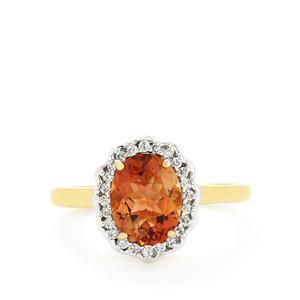 Oregon Sunstone & Diamond 18k Gold Tomas Rae Ring MTGW 1.75cts