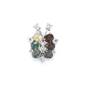 Burmese Multi-Color Spinel Pendant with White Topaz in Sterling Silver 5.55cts