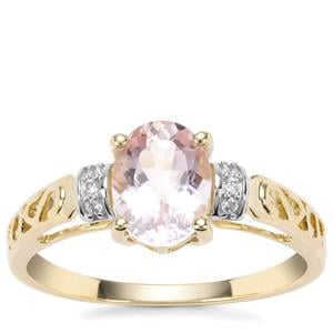 Nigerian Morganite Ring with White Zircon in 9K Gold 1.17cts