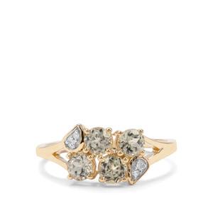Csarite® & Diamond 9K Gold Ring ATGW 1.19cts