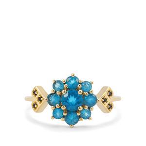 Neon Apatite & Ceylon Blue Sapphire 9K Gold Ring ATGW 1.17cts