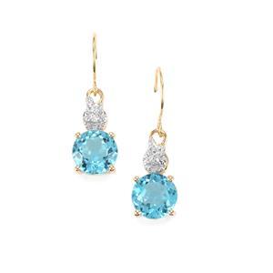 Swiss Blue Topaz & Diamond 9K Gold Earrings ATGW 4.71cts