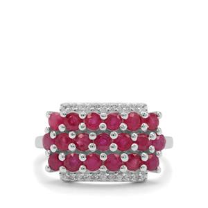 Burmese Ruby Ring with White Zircon in Sterling Silver 2.35cts