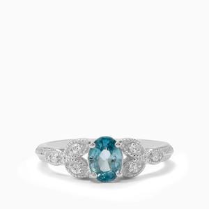 1.32ct Ratanakiri Blue & White Zircon Sterling Silver Ring