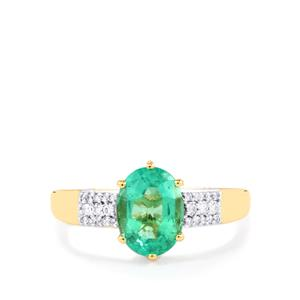 Ethiopian Emerald Ring with Diamond in 18K Gold 1.80cts
