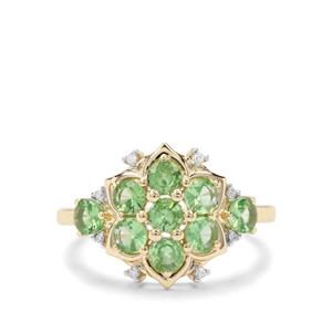 Tsavorite Garnet & Diamond 9K Gold Ring ATGW 1.35cts