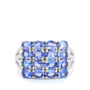 AA Tanzanite Ring in Platinum Plated Sterling Silver 2.96cts