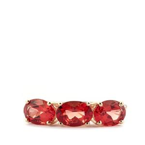 2.22ct Mongolian Red Andesine 9K Gold Ring