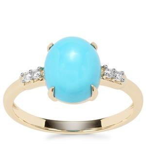 Sleeping Beauty Turquoise Ring with White Zircon in 9K Gold 2.29cts
