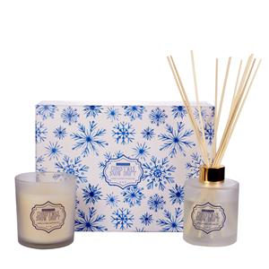 Snow Flake Candle and Reed Diffuser, Vanilla fragrance with Snow Quartz ATGW 40cts