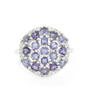 Bengal Iolite & White Topaz Sterling Silver Ring ATGW 1.82cts