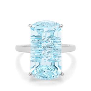 14.42cts Lehrer Matrix Cut Sky Blue Topaz 9K White Gold Ring
