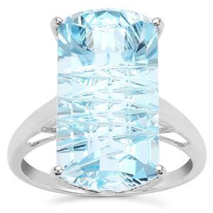 Lehrer Matrix Cut Sky Blue Topaz Ring in 9K White Gold 14.42cts