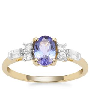 AA Tanzanite Ring with White Zircon in 9K Gold 1.26cts